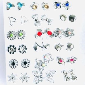 New Silver Plated Pack Of 18 Earrings Studs